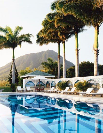 The pool at the Montpelier Plantation Inn sits in the shadow of Nevis Peak.