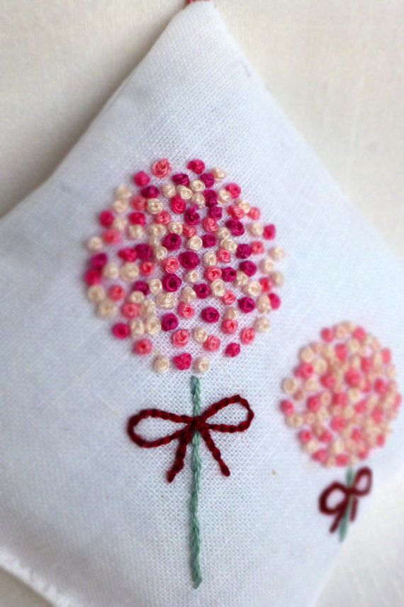 Million french knots lavender sachet hand embroidery por MumsTouch, £7.65 As featured in Australian Homespun's January 2014 Best of the Best from Pinterest column.
