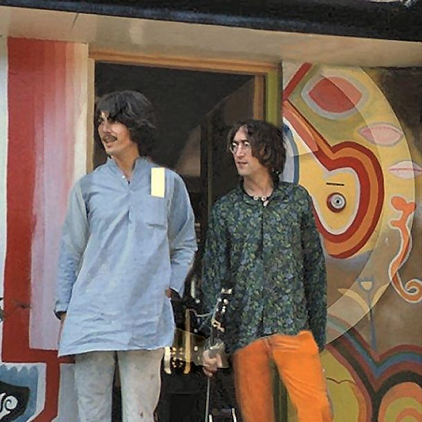 Very rare (unique to my knowledge) shot of John Lennon and George Harrison together at Kinfauns in Esher. Restored and repaired. Taken by a visiting fan.