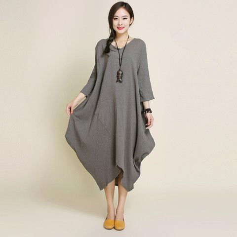 women 3/4 sleeve cotton linen dress