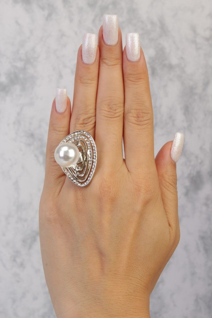 Silver High Polish Spiral Design Faux Pearl Gemstone Accent Ring