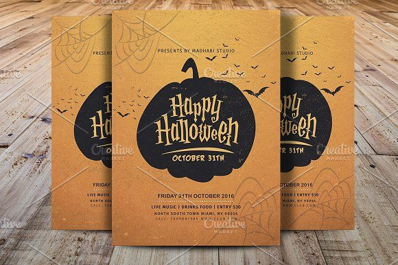 Vintage Halloween Party Flyer V5 by Madhabi Studio on @creativemarket