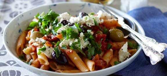 Penne With Feta Raisins Olives and Capers Recipe