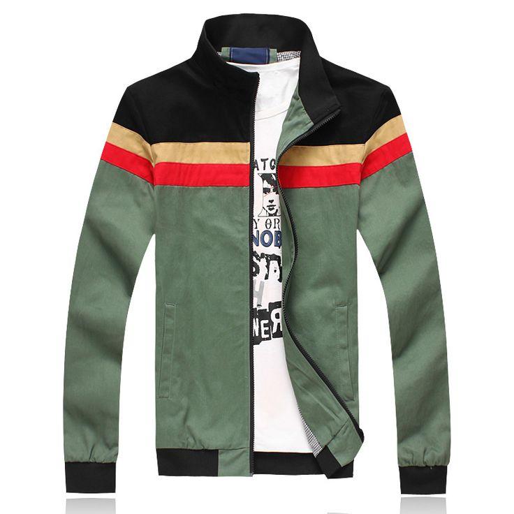 New Fashion casual jacket for men High quality autumn men coat stripe  plus size jacket outerwear  $35.67