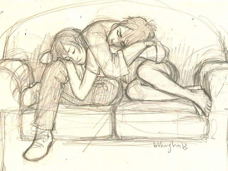 dibujo de parejas enamoradas descanso