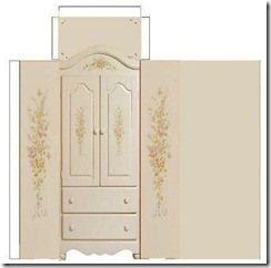 Patrón de muebles de casa de muñecas en papel: armario   -   Pattern paper dollhouse furniture wardrobe