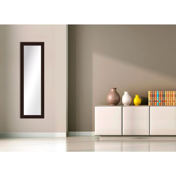 51.5 in. x 15.5 in. Brown Framed Mirror