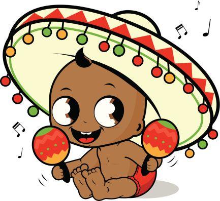 Mariachi bébé garçon jouant le maracas - Illustration vectorielle