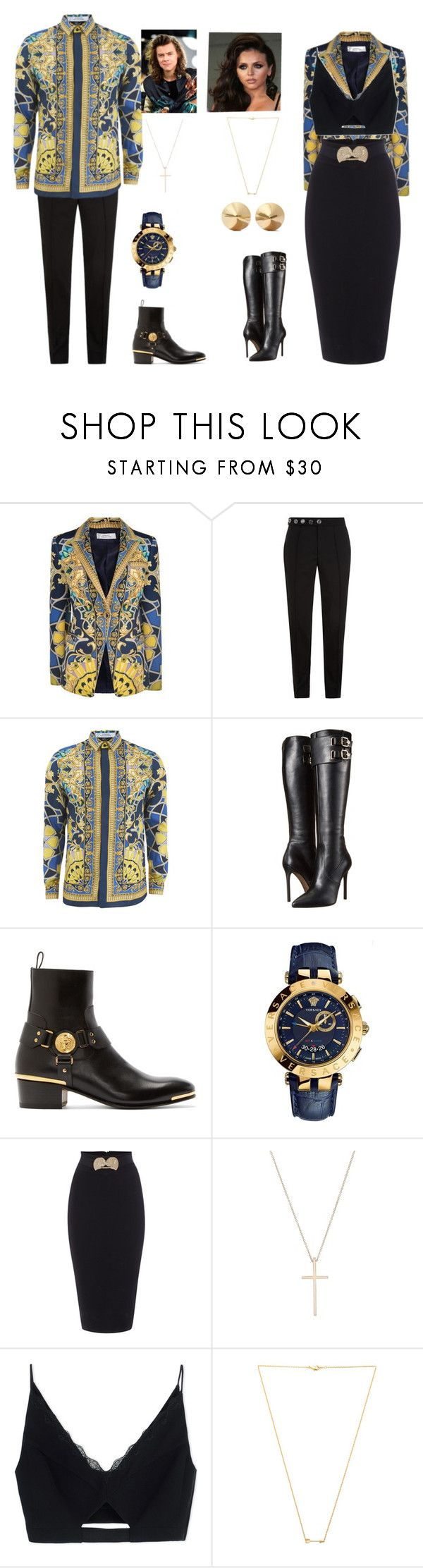 """V-Day date outfit"" by directioner-af-daily ❤ liked on Polyvore featuring Versace, Versus, Tiffany & Co., Wanderlust + Co, Eddie Borgo, women's clothing, women, female, woman and misses"
