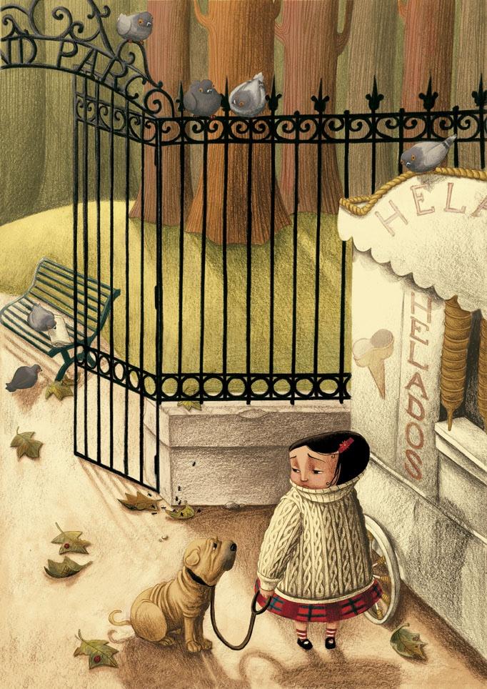 Cereza, una gran devoradora de libros, pasea a su perrito Guinda, su mejor amigo. Ambos personajes son obra de Benjamin Lacombe, el célebre ilustrador francés que ya tiene una fructífera trayectoria de colaboración con Edelvives. La editorial de literatura infantil y juvenil ha editado algunos de sus álbumes ilustrados más relevantes.