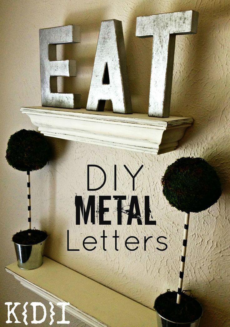 Katie{Did}It: E.A.T. Metallic Letters DIY: Kitchens Shelves, Creative Ideas, Diy Crafts, Metals Diy, Crafts Stuff, Crafty Diy, Metals Letters Diy, Diy Projects, Diy Metals