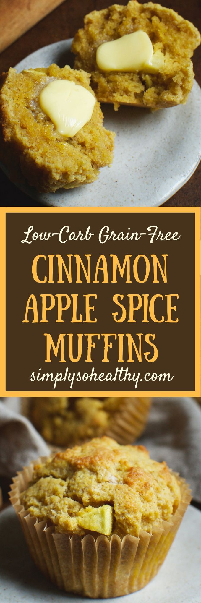 These Low-Carb Cinnamon Apple Spice Muffins are perfect for an autumn breakfast. They can be part of a low-carb, keto, Paleo, Atkins, diabetic, LC/HF, gluten-free, grain-free or Banting diet. #lowcarbrecipe #lowcarbmuffins