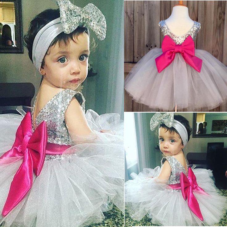 0-4Y Детское Платье Милые Малыши Девушки Одежда Лук Блестками Платье Принцессы Маленькая Девочка Бальное платье Туту Платье #men, #hats, #watches, #belts, #fashion, #style