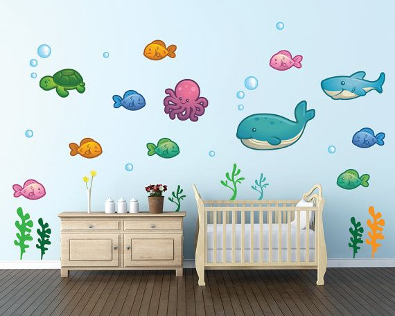 Ocean Adventure Theme Nursery Wall Decals Set by LullaberryDecals