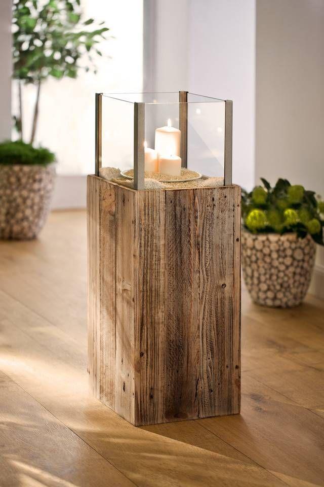 Wind Light Column Cube Windlicht Holz Bodenvase Dekorieren