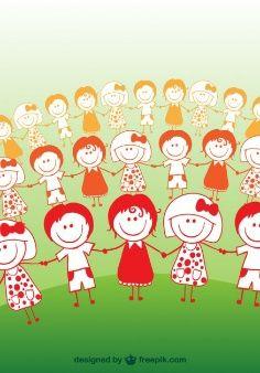 Dibujos Niños, concepto de la amistad