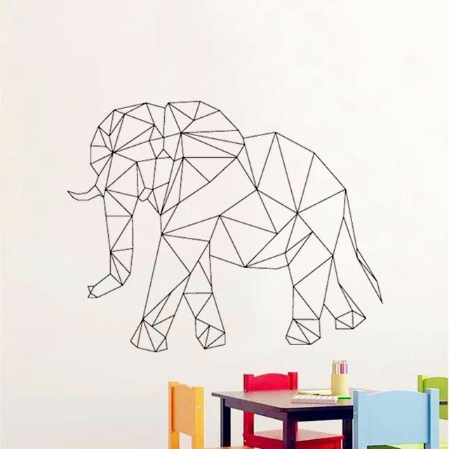 Decalques da Parede do bebê Geométrica elefante Adesivo de Parede para quarto de crianças parede Decalques Da Parede do Vinil 3d Preto branco cinza animal mural D634