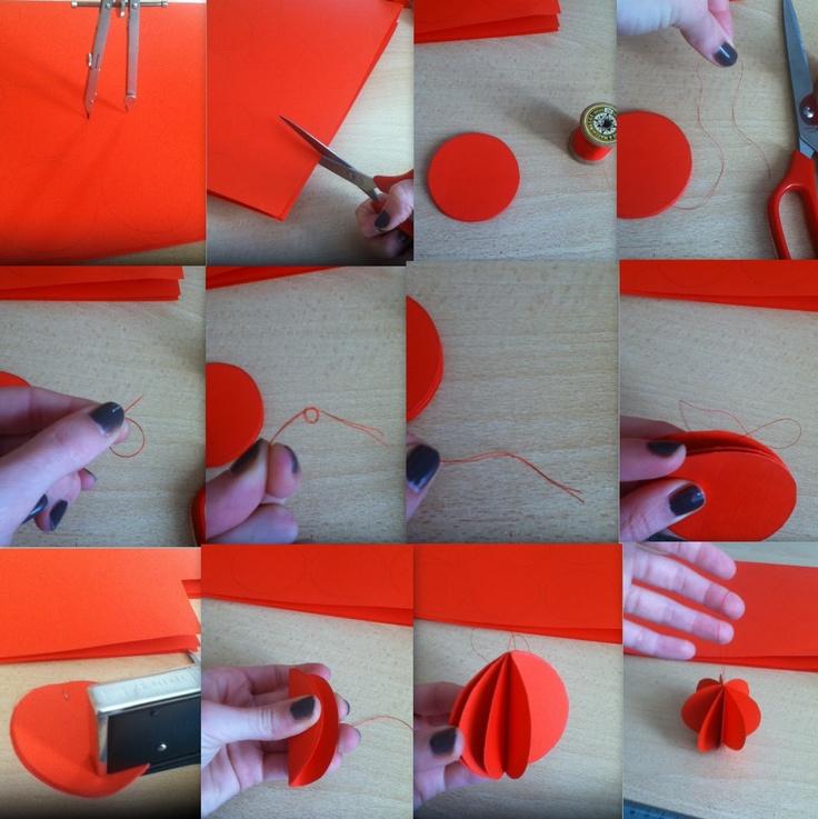 DIY- noxcreare: Palline di Natale in carta DIY (decorazioni per l'albero)