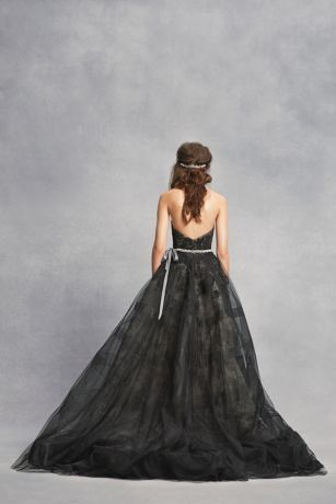 Black Lace Wedding Dress with Tiered Horsehair