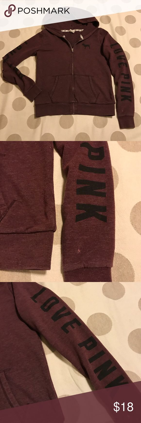 """VS PINK burgundy """"love pink"""" hoodie You're looking at preloved Victoria's Secret brand hoodie in size small. Burgundy with distressed look. The VS Pink black puppy logo is on left chest, says """"Love Pink"""" down the tops of both arms. Soft and light weight. Good condition- is missing drawstring for good and has a small stain on left arm. 💙offers 💙20% off discount on bundles 🚫PayPal 🚫trades PINK Victoria's Secret Tops Sweatshirts & Hoodies"""