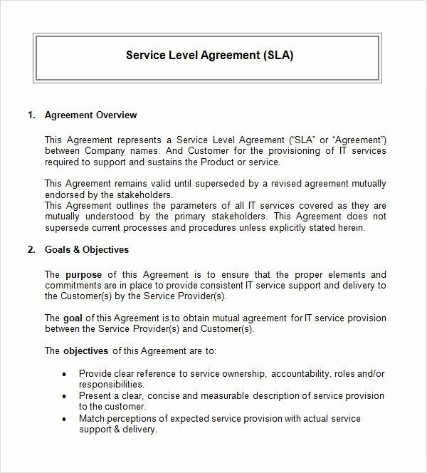 It Service Contract Template In 2020 Service Level Agreement