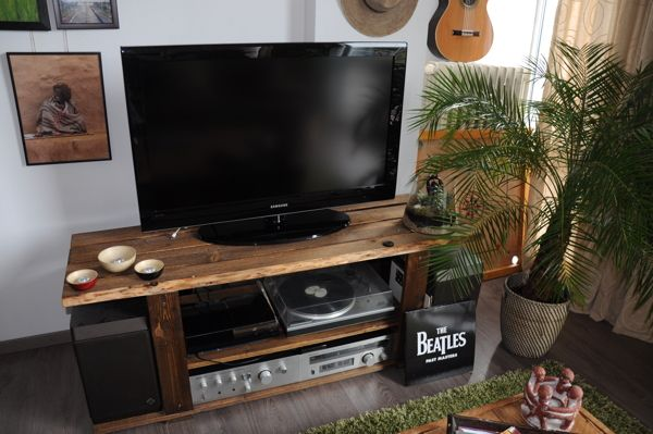 My own custom built TV stand, made from pallet wood.