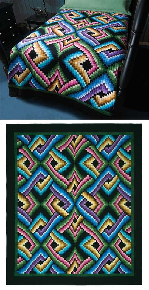 strip pieced bargello quilt. how cool is this? can I adapt my pink/black irish chain?
