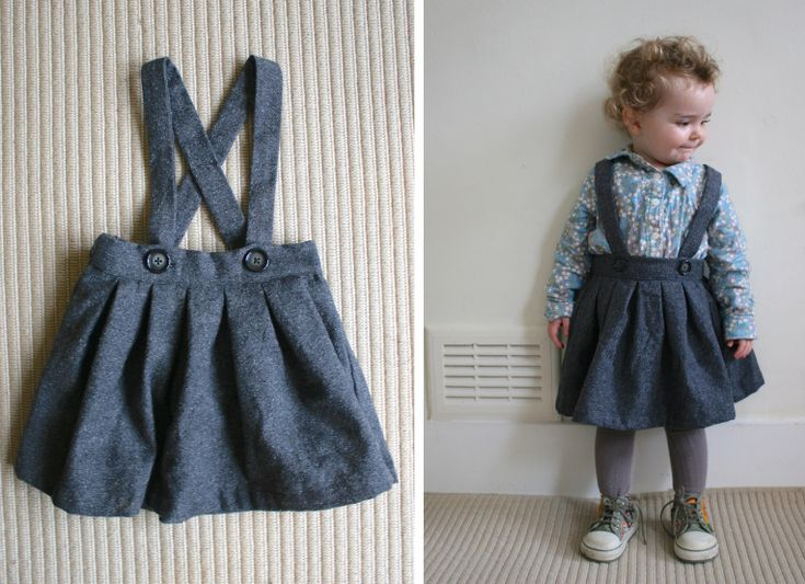 pleated toddler skirt in grey wool/silk with detachable braces