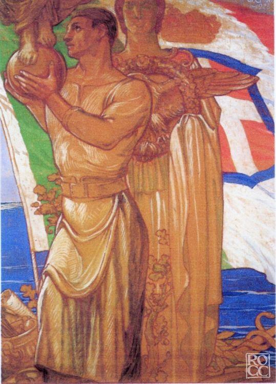 """Galileo Chini (Firenze 1873 - 1956), """"MANIFESTO"""", 1927 ... Sono rappresentate due Figure sullo sfondo della Bandiera  Soggetto: Figure Tecnica: Supporto: Carta  Galileo Chini: Repertorio delle Opere. info@repertoriogalileochini.it"""