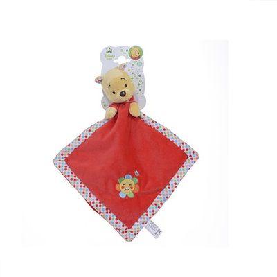 Doudou Winnie l'ourson - bambinovpc En velours rouge tout doux, il accompagnera bébé partout ! Lavable en machine. Dès la naissance. Dimension : environ 22 x 22 cm.