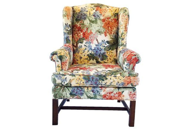 Chippendale Floral Wingback Chair
