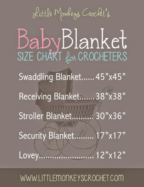 Baby Blanket Size Chart by Little Monkeys Crochet