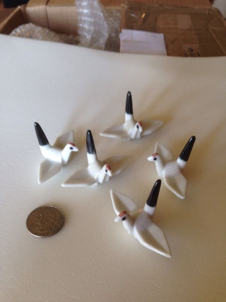 Vintage Japanese Hashioki Chopstick Rest Set Of 5 Ceramic Birds