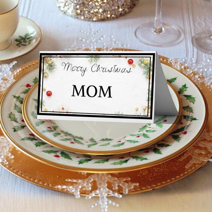 merry christmas holiday editable place card templatetable