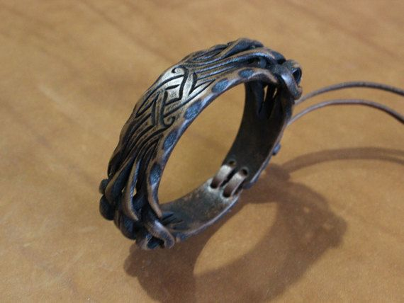 Narrow leather bracelet with a unique от UniqueLeatherWares