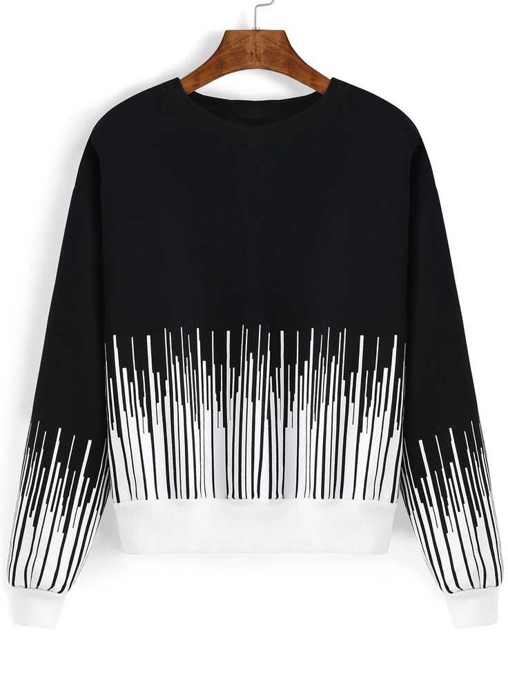 Black White Round Neck Vertical Stripe Sweatshirt , High Quality Guarantee with Low Price!