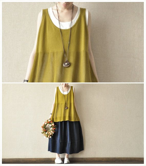 Yellow  Sleeveless Loose Women   T-Shirt  Vest--7colours