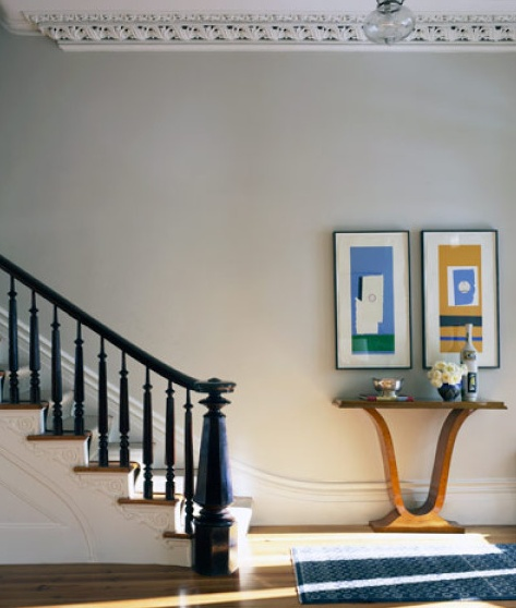 A staircase in a New York townhouse decorated by Sheila Bridges.