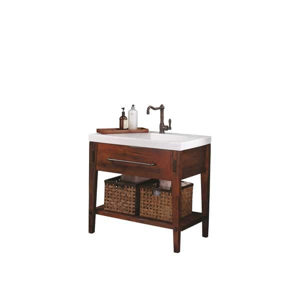 Ronbow Portland 36-inch Bathroom Vanity Set in Rustic Pine, Ceramic Utility Sink Top in White with Soap Tray