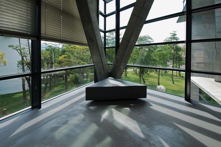 triangular geometry defines asia museum of modern art by tadao ando