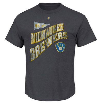 Men's Milwaukee Brewers Majestic Charcoal Big & Tall Cooperstown At Pace T-Shirt