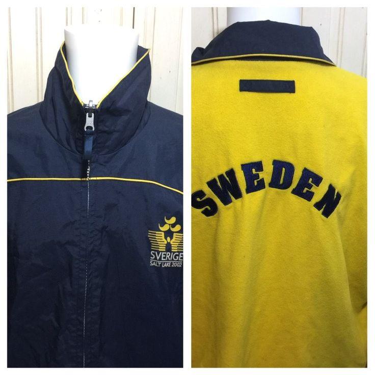 Team Sweden SVERIGE Salt Lake City 2002 Olympics Jacket Coat REVERSIBLE Sz L