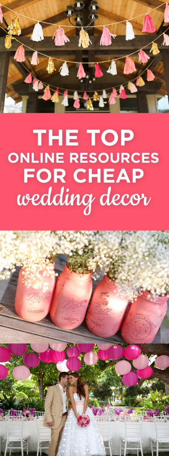 The top online resources for cheap wedding decor -- where to buy your wedding decor online for cheap! http://thebudgetsavvybride.com/cheap-wedding-decor/