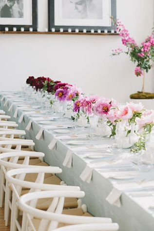 38 best wedding flowers images on pinterest marriage for Long dining table centerpiece