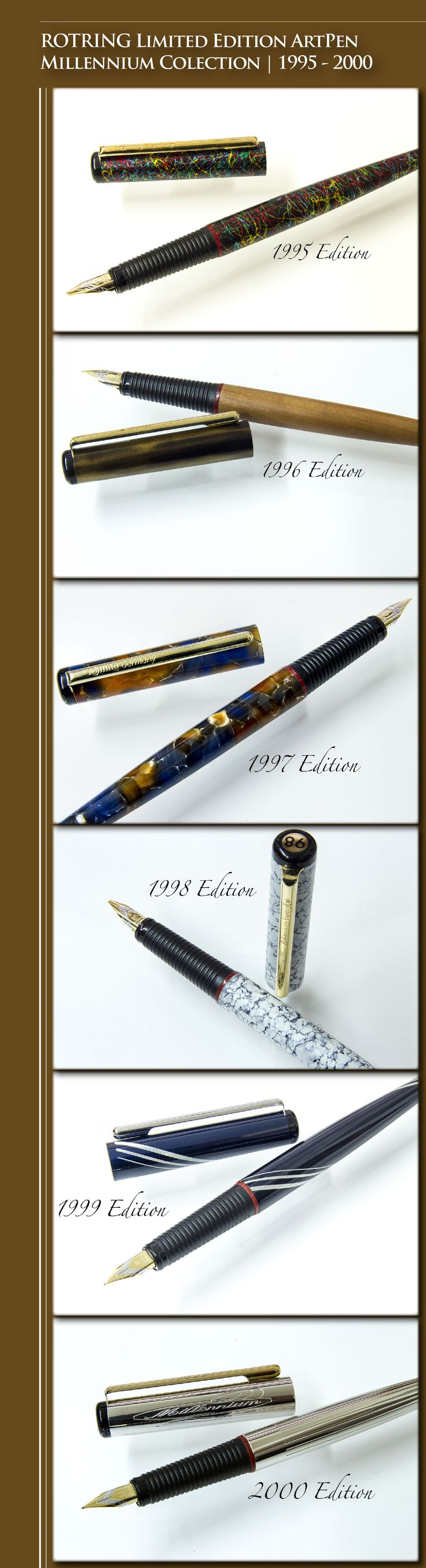 ROTRING Limited Edition ArtPen Millennium Collection | 1995 - Multicoloured 'paint splattered' metal | 1996 - Hand-lacquered metal cap and American Cherry wood barrel | 1997 - Multicoloured translucent resin  | 1998 - Hand painted lathe-turned aluminium with a multi-layer enamelling process | 1999 - Polished hand-turned aluminium with brilliant marine-blue anodised surface | 2000 - Solid hand-turned brass etched with a guilloche pattern, silver-coated and rhodium plated - Germany