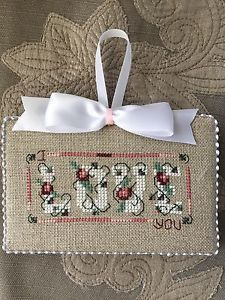Finished Cross Stitch Ornament Shepherd's Bush Love Valentines Day February