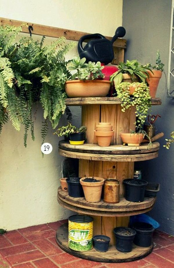 Upcycled Cable Reel Planter