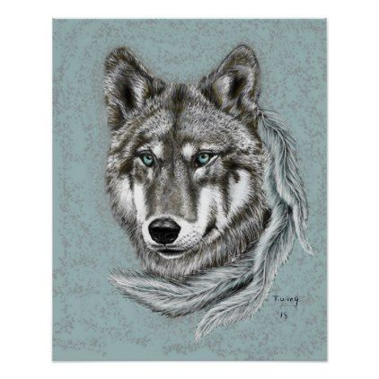 Grey Wolf Poster - animal gift ideas animals and pets diy customize