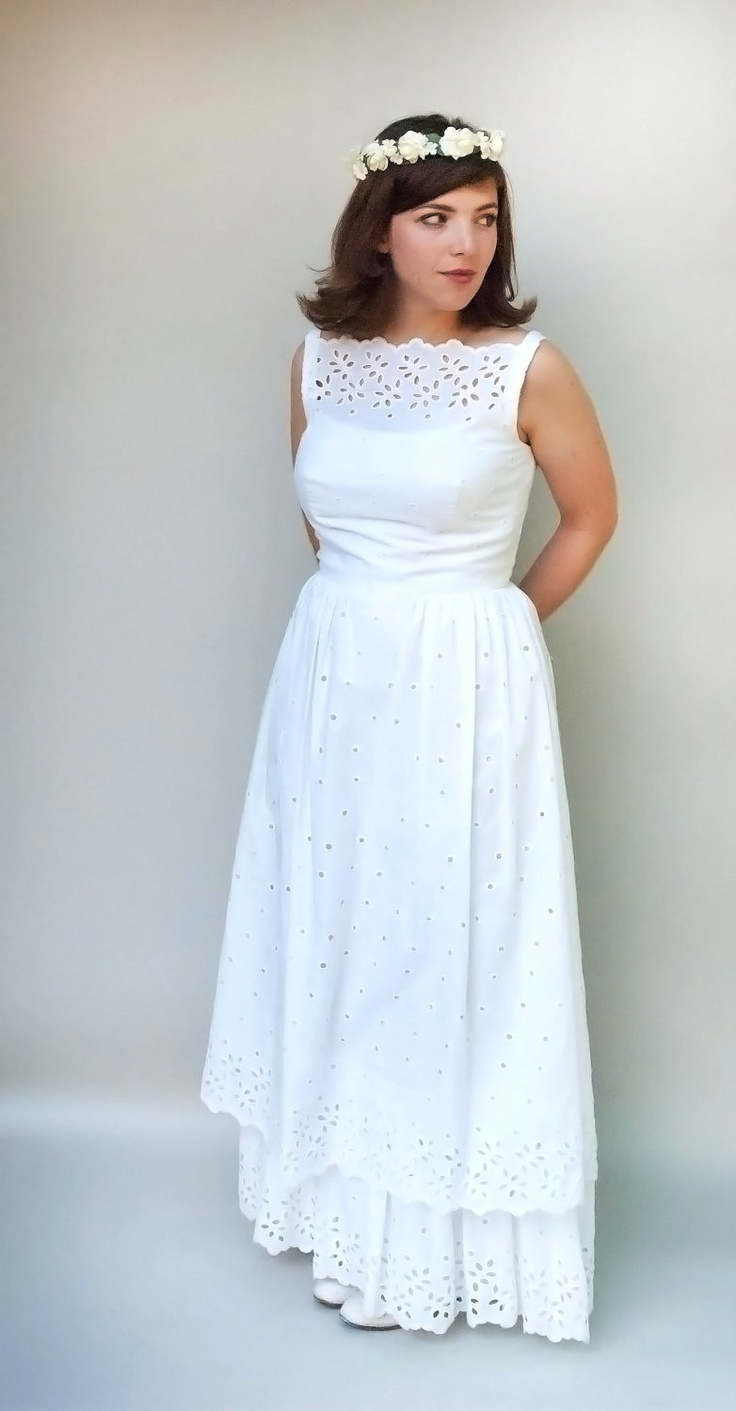 SALE Vintage 1970s Style Wedding Dress-He Loves Me Loves Me Not-White Eyelet Cotton Tiered Hippie Maxi Wedding Dress. $68.00, via Etsy.