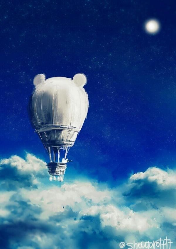 #air balloon #sky #moon #stars
